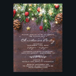"""Rustic Country Christmas Holiday Party Invitation<br><div class=""""desc"""">Rustic christmas winter theme party invitations featuring a dark wooden background,  festive christmas tree branches,  red &amp; gold tree decorations and string twinkle lights.</div>"""
