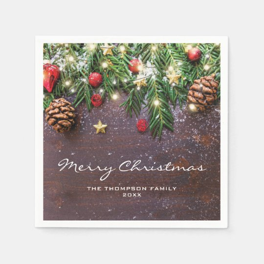 Country Christmas Background.Rustic Country Christmas Holiday Party Paper Napkin