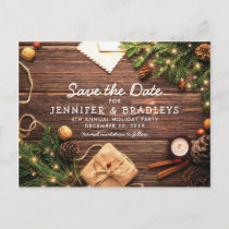 Rustic Country Christmas Holiday Save the Date Announcement Postcard