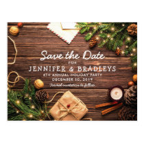 Rustic Country Christmas Holiday Save the Date Postcard