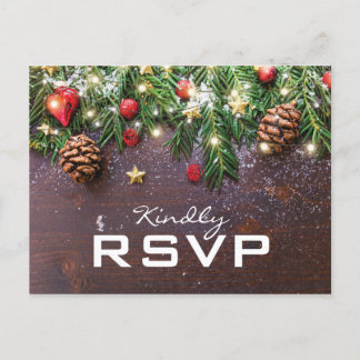 Rustic Country Christmas Holiday Winter RSVP Invitation Postcard