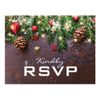Rustic Country Christmas Holiday Winter RSVP Postcard