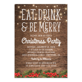 Rustic Country Christmas Party | Happy Holiday Card at Zazzle
