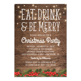 Rustic Country Christmas Party   Happy Holiday Card