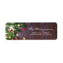 Rustic Country Christmas Red Gold Decorations Label