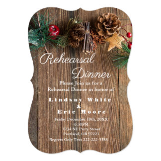 Rustic Country Christmas Rehearsal Dinner Invitation
