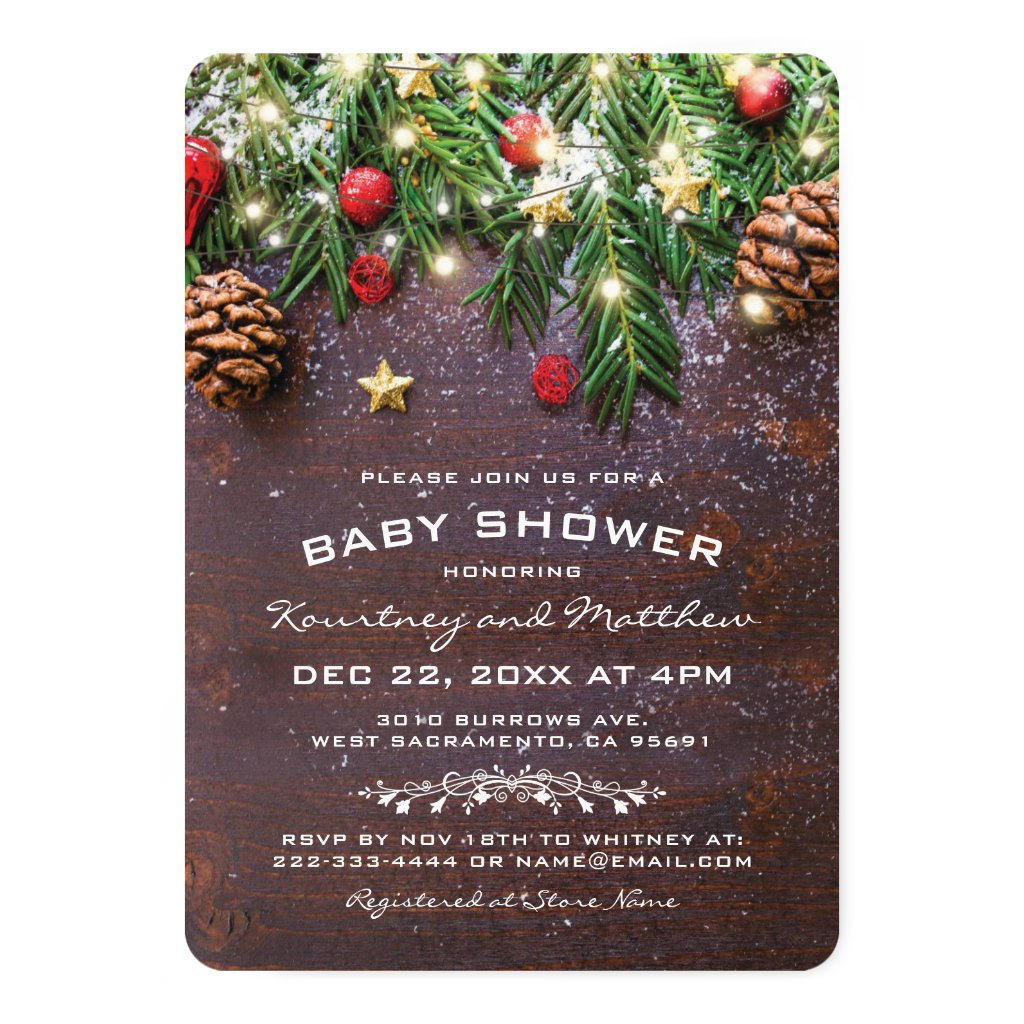 Rustic Country Christmas Tree Ornament Baby Shower Invitation