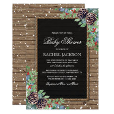 Rustic Country Christmas Winter Baby Shower Invitation