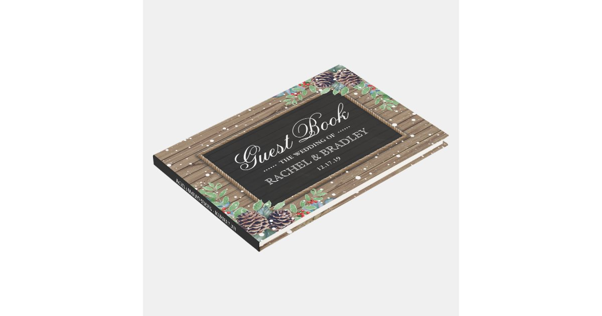Rustic Country Christmas Winter Wedding Guest Book   Zazzle.com