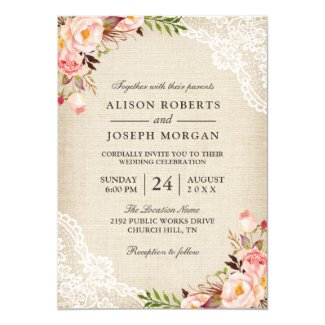 Burlap and Lace Wedding Invitation with Pink Roses