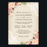 """Rustic Country Classy Floral Lace Burlap Wedding Card<br><div class=""""desc"""">================= ABOUT THIS DESIGN ================= Rustic Country Pink Floral Lace Ivory Burlap Wedding Invitation. (1) You are able to change the Burlap Color by setting different background colors. For further customization, please click the &quot;Customize&quot; button and use our design tool to modify this template. All text style, colors, sizes can...</div>"""