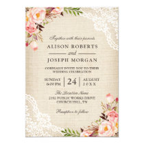 Rustic Country Classy Floral Lace Burlap Wedding Card