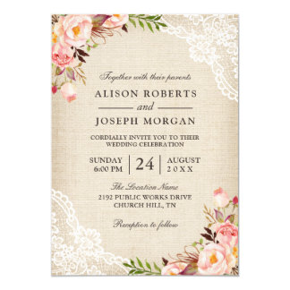 rustic country classy floral lace burlap wedding card - Burlap Wedding Invitations