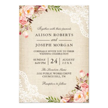 CardHunter Rustic Country Classy Floral Lace Burlap Wedding Card