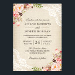 "Rustic Country Classy Floral Lace Burlap Wedding Invitation<br><div class=""desc"">Rustic Country Pink Floral Lace Ivory Burlap Wedding Invitation. (1) You are able to change the Burlap Color by setting different background colors. For further customization, please click the &quot;customize further&quot; link and use our design tool to modify this template. (2) You may consider to choose the Matte Type or...</div>"