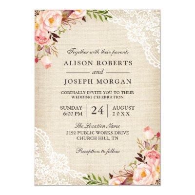 Ivory Lace Rustic Burlap Wedding Invitation Coral Invitation