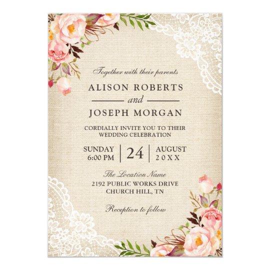 rustic country classy floral lace burlap wedding invitation zazzle com