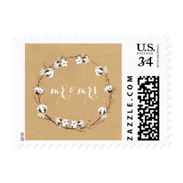 Beach Themed Rustic Country Cotton Wreath Wedding Stamps