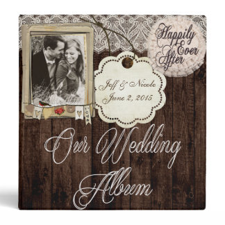Rustic Country Couple Photo Wedding Photo Album 3 Ring Binder