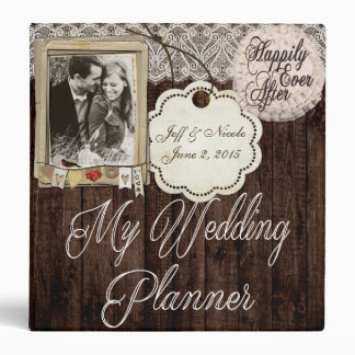 Rustic Country Couple Photo Wedding Planner 3 Ring Binder
