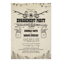 Rustic Country Cowboy Boots Engagement Party Card