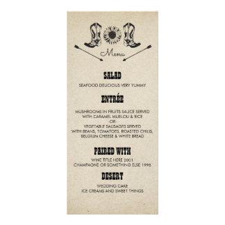 Rustic Country Cowboy Boots Wedding Menu Cards