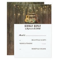 Rustic Country Cowboy Boots Wedding RSVP Card