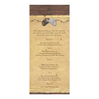 Rustic Country Cowboy Hat Barbed Wire Wedding Menu