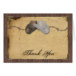 Rustic Country Cowboy Hats Barbed Wire Thank You Card