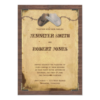 Rustic Country Cowboy Hats Barbed Wire Wedding Card