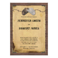 Rustic Country Cowboy Hats Barbed Wire Wedding Custom Announcements