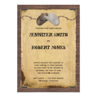 "Rustic Country Cowboy Hats Barbed Wire Wedding 5"" X 7"" Invitation Card"