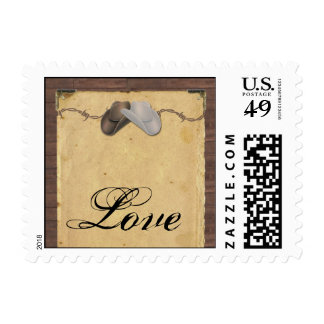 Rustic Country Cowboy Hats Barbed Wire Wedding Postage Stamp