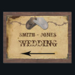 "Rustic Country Cowboy Hats Wedding Direction Sign<br><div class=""desc"">This beautiful and elegant design, called Rustic Country Cowboy Hats and Barbed Wire on Parchment Wedding, has a beautiful background made from an image of barn wood. There is an inset of old parchment with a cool frame for your text and four old fashioned corner embellishments. At the top is...</div>"