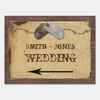Rustic Country Cowboy Hats Wedding Direction Sign