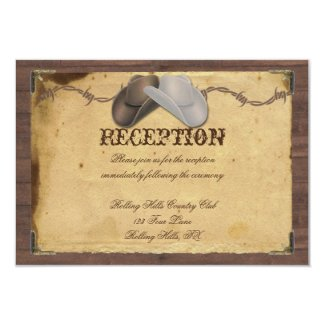 "Rustic Country Cowboy Hats Wedding Reception 3.5"" X 5"" Invitation Card"