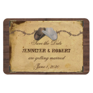 Rustic Country Cowboy Hats Wedding Save the Date Rectangular Photo Magnet
