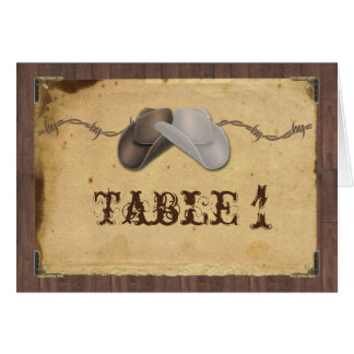 Rustic Country Cowboy Hats Wedding Table Number