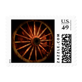 Rustic Country Cowboy Wagon Wheel Stamp