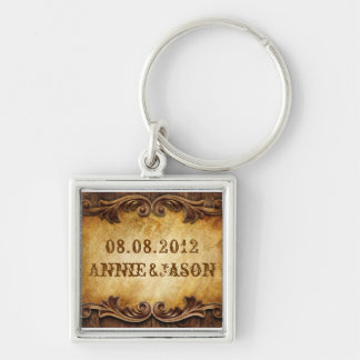 Rustic Country Cowboy Western Wedding Keychain