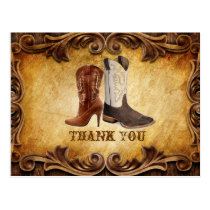 Rustic Country Cowboy Western Wedding thank you Postcard