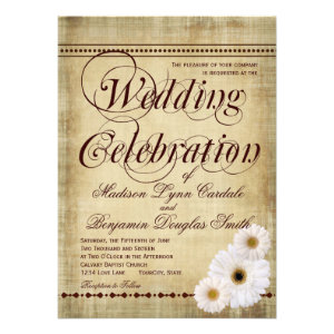 Rustic Country Daisies Vintage Wedding Invitations Custom Invites