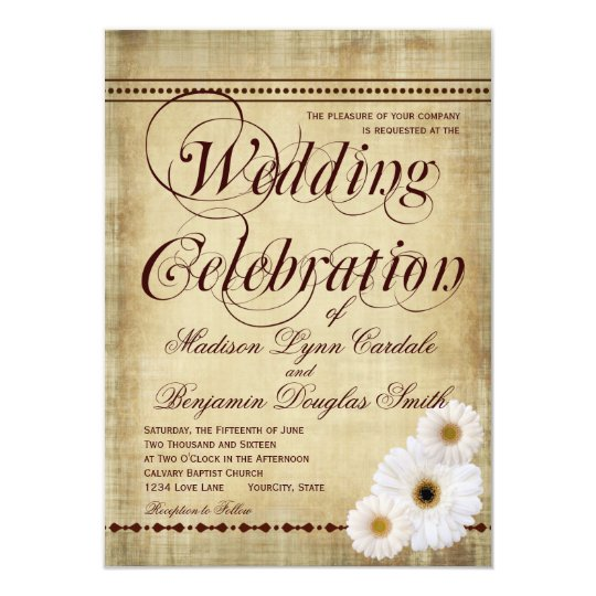 Rustic Daisy Wedding Invitations: Rustic Country Daisies Vintage Wedding Invitations