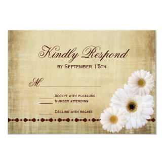 Rustic Country Daisies Vintage Wedding RSVP Cards