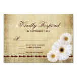 Rustic Country Daisies Vintage Wedding RSVP Cards Invitation