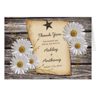 Rustic Country Daisy Floral Wedding Thank You Stationery Note Card