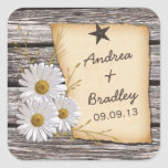 Rustic Country Daisy Wedding Envelope Seal Square Sticker