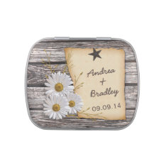 Rustic Country Daisy Wedding Favor Candy Tin at Zazzle