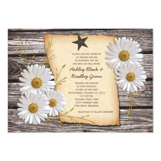 "Rustic Country Daisy Wedding Invitation 5"" X 7"" Invitation Card"