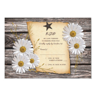 Rustic Country Daisy Wedding Reply Card